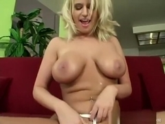 Cock-craving blonde takes her clothes off and bangs a charmer