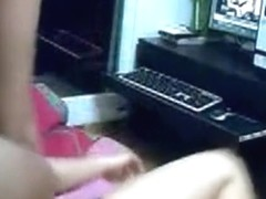 Asian girl with hairy pussy watches porn, gets horny and wants to be doggystyle fucked after getti.
