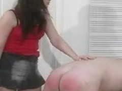 Submissive male gets spanking and butt caning