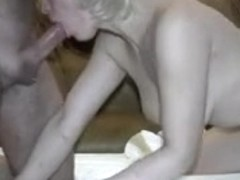 Cheating blond Russian girlfriend engulfing cock of superlatively good ally
