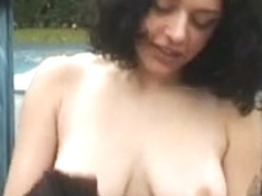 Two babes flashing their tits and pussy in public place