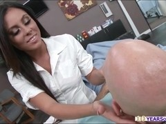 Horny nurse and doctor seduces their patient and have threesome