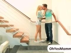 Teen Dakota James offers her stepmom Angel a threesome sex with her bf