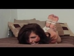 Unhappy and hogtied
