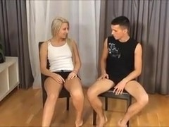 blonde vs skinny guy loser pleases the winner - super hot