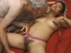 Older oriental sweetheart gangbanged hard