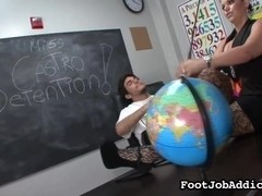 Footjob loving teacher