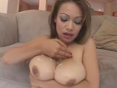Oriental tease + ejaculation on milk shakes