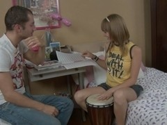 Music lesson angel drilled in the a-hole and throat