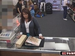 Huge boobs Milf sells her husbands cards collection for bail