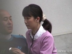 Japanese babe is a wild nurse when outdoors