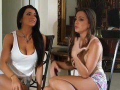 Busty brunettes in a lusty lesbian porn video