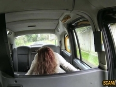 Redhead Ella gets pounded in the cab by a big dick driver