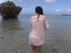 Hot Asian teen Minori Hatsune enjoys sex at the beach