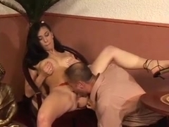 Brunette Gets Her Ass Fucked And Drains His Balls