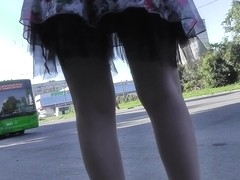 Amazing upskirt XXX movie tells about brunette's thong