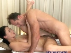 Mature woman with hairy pussy given orgasm