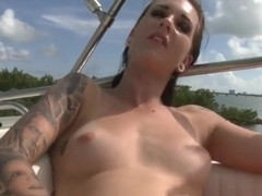 Lovely Sunshine riding a boat and masturbating her pussy very nice