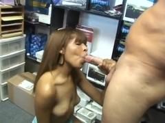 Sexy Latina Anavelle sucking her neighbour Sergio's big dick