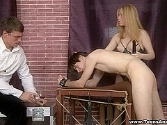 Assfucked and double-drilled on a case