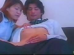 Asian MILF seduces juvenile salesman b4 husband cums home
