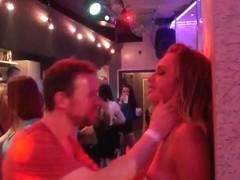 Hot pornstars suck and fuck dicks in a club