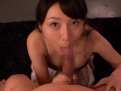 (Censored) Japanese babe gives head in silky dress