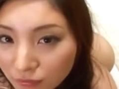 Skinny hairy Japanese slut gets her muff creampied