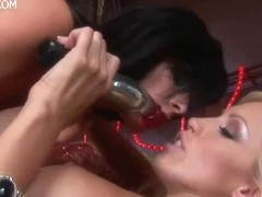 Cassie Youthful and Kenzi Marie massive glass fake penis