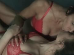 Lesbos enjoying their holes in darksome