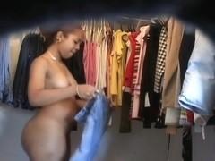 A tempting ebony slut naked in a voyeur video
