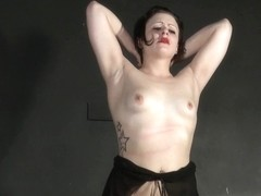 Breast whipping of non-professional s&m sweetheart in drubbing