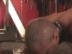 Ebony thrall fucked by a kinky white dominatrix