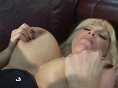 Blonde with extra large boobs getting laid