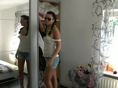 Legal Age Teenager chick with sexy shorts receives buttfucked by her fellow