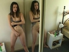 Masturbating near the mirror
