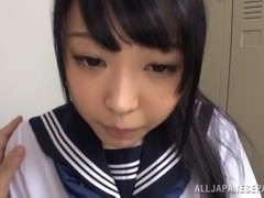 Alluring Asian teen in school uniform gets cornered after class