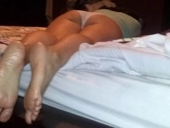 Foot Massage with wifey a-hole and footjob at the end