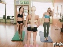 Yoga class of busty trainer with brunette babes to stay fit