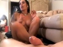 Wife does footjob then blows cock, dildo in pussy
