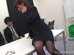 Office MILF fucks herself and gets fucked at the office