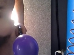 Cumming on purple balloon while pumping [MALE]
