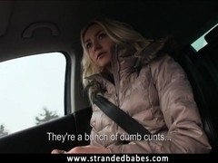 Teen blonde Victoria fucked in the car