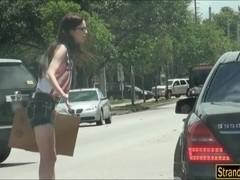 Nerd teen Tali Dava banged in the backseat by stranger