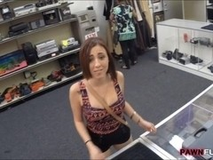 Pretty big natural tits girl in glasses fucked by pawn man