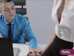 Gorgeous office girl Sheri in glasses fucked and cum on ass