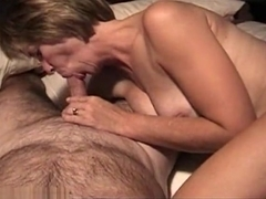 Pretty Blonde Milf Wife Suck Husband Cock When Parents Go To Baseball Game,Damn!