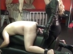 FEMDOM huge strapon shecock destroys stretched out manpussy