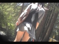 Horny outdoor upskirt of the tall and slim teenie