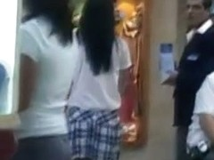 Real legal teen schoolgirl up skirt shopping mall video